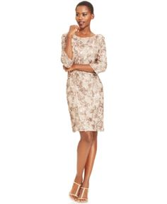 Alex Evenings Embroidered Lace Sequin Sheath