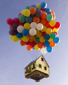 """alecshao: """" National Geographic's Real-Life 'Up' House """"Inspired by Pixar's animated film Up, National Geographic Channel and a team of scientists, engineers, and two world-class balloon pilots. Floating Balloons, Large Balloons, Helium Balloons, Giant Balloons, Flying Balloon, The Balloon, Poema Visual, Balloon Clusters, Creative Senior Pictures"""