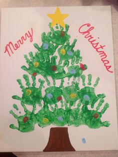 Handprint Christmas tree with thumbprint ornaments