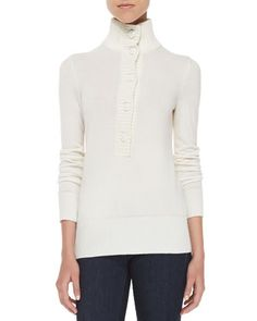 Tory Burch Giselle Button-Down Mock-Neck Sweater