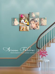 Love the wall color (from site showing great ways to decorate with pictures.)