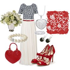 Hearts and Flowers, created by skpg on Polyvore