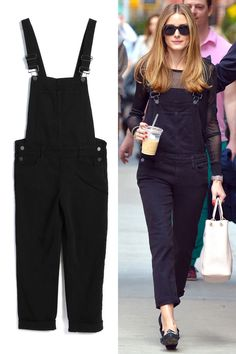 Olivia Palermo nails the overalls look in an all-black ensemble. Get her street style look here.