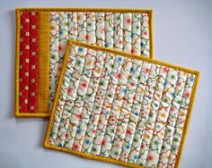 Pair of Quilted Placemats Snack Mats Mug by QuiltyMcQuilterson