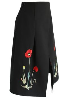 Wild Poppy Embroidered Flap Skirt  - Retro, Indie and Unique Fashion