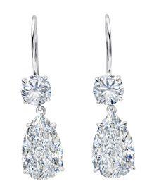 Martin Katz Bridal Collection, 2.0ct each Pear Shape Diamonds set in platinum…