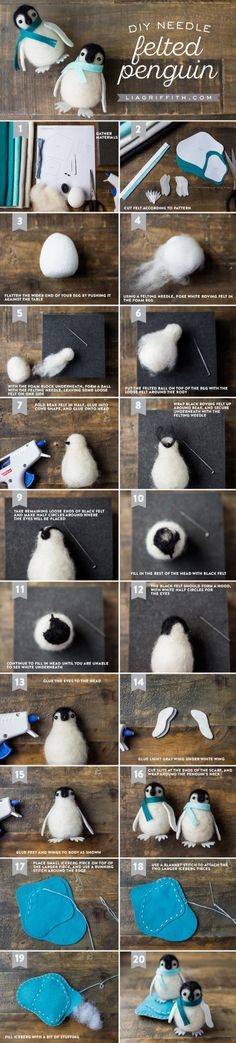 Learn a neat trick for felting and make yourself a cute needle felted penguin in the process! Design, pattern and tutorial by Lia Griffith. by kathy