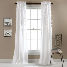 Shop the latest collection of Lush Decor Avery Curtains Ruffled Shabby Chic Style Window Panel Set Living, Dining Room, Bedroom (Pair), 84 White from the most popular stores - all in one place. Similar products are available. Ruffle Curtains, Rod Pocket Curtains, White Curtains, Window Curtains, Cream Curtains, Neutral Curtains, Room Window, Window Panels, Window Coverings
