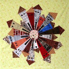 Architectural Elements Dresden Neighborhood by Kim Lapacek Dresden Plate Quilts, Mini Quilt Patterns, Applique, House Quilts, Fabric Pictures, Quilting Designs, Quilt Design, Quilting Ideas, English Paper Piecing