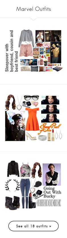 """Marvel Outfits"" by redheadmahomiemidnightredaustin ❤ liked on Polyvore featuring Boohoo, Marvel, Sebastian Professional, Wilton, Hershey's, Monday, Dot & Bo, Roxy, DKNY and Ethan Allen"