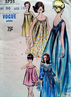 1960s Nightgown and Panties Pattern, Vogue Pattern 5725, Bust 36 Size 16, Women's Vintage Sewing Pattern, Sleepwear, Nightie on Etsy, $18.63