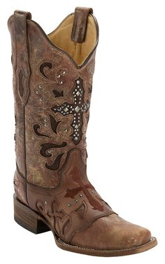 Corral® Women's Cognac Wash w/ Stud Cross Square Toe Western Boot | Cavender's Boot City