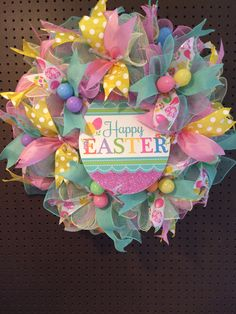 Easter wreath/Happy Easter Wreath/Easter Mesh Wreath/Front Door Wreath by DesignsByDutches on Etsy Easter Wreaths, Holiday Wreaths, Holiday Crafts, Spring Wreaths, Summer Wreath, Wreaths For Front Door, Door Wreaths, Yarn Wreaths, Easter Season