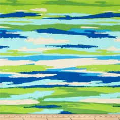 Soft Jersey Knit Sunset Stripe Multi/Lime/Roy from @fabricdotcom  This polyester jersey knit fabric has a soft rayon-like hand, a light drape and about 40% stretch across the grain. This versatile fabric is perfect for creating stylish tops, tanks, gathered skirts and fuller dresses with a lining.