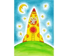 Happy mouse on trip child's drawing painting hand drawn by Fausova, $4.99