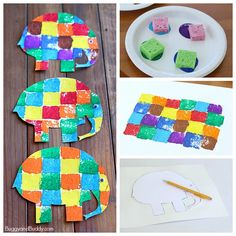 sponge painted Elmer the elephant art project for kids, maybe with construction paper squares instead of paint
