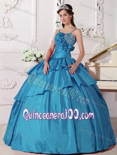 Teal Spaghetti Straps Taffeta Dress for Quince with Flowers