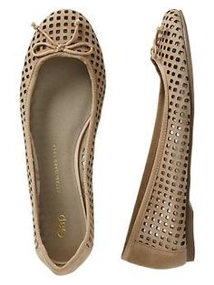 perforated suede ballet flats / gap