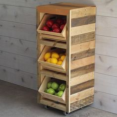 Build a Produce Storage Unit with Crates - AHŞAP TASARIMLAR ve This simple project will keep your fruits and veggies corralled. Build this project using crates and dimensional lumber for a storage solution. Produce Storage, Fruit Storage, Food Storage, Vegetable Crates, Vegetable Storage, Wooden Pallet Crafts, Pallet Projects, Diy Pallet, Pallet Ideas