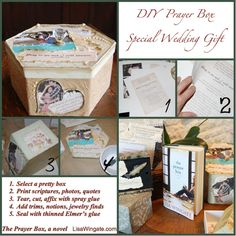 """DIY Prayer Box. Handmade Prayer Boxes are one of my favorite gifts, which helped inspire a novel about how a special prayer box changes a life.  This Wedding Prayer Box came with the note """"The sweetest place for a wife's name is in her husband's prayers, and the most beautiful use of a husband's name is when his wife speaks of him to God.""""  I hope they will use it to pray and express gratitudes together. What a perfect tradition to start at a young couple's wedding shower! #DIY #Craft…"""