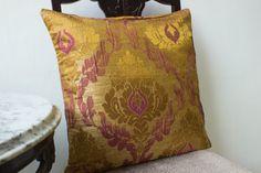 Gold Purple Silk Pillow cover 16x16,Decorative throw Roman Damask Pillow, Accent pillow, Sofa Pillow
