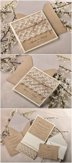Top 10 Rustic Wedding Invitations to WOW Your Guests Shabby chic lace and burlap rustic wedding invitation suite; Wedding Invitations Diy Handmade, Lace Wedding Invitations, Vintage Wedding Invitations, Rustic Invitations, Wedding Invitation Suite, Wedding Stationery, Wedding Cards, Invitation Wording, Invitation Ideas