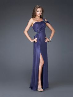 Column Tanzanite Beaded One-shoulder Drape High Slit Backless Prom Dress