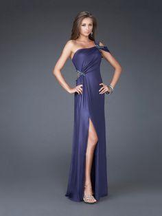 Column Tanzanite Beaded One-shoulder Drape High Slit Backless Prom Dress