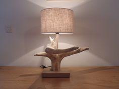 lampe bois flotté- souche - abat-jour Lin rond- cylindre cylindrique - modèle unique original - bord de mer