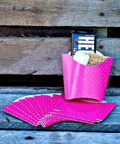 Pink French Fry Box - Set of 10. Cute idea for smores packs or take-home treats