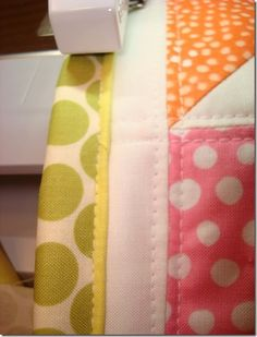 Different way to bind a quilt.