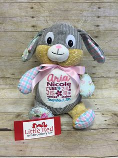 Baby Cubbies Harlequin Bunny with custom embroidery  https://www.etsy.com/listing/251652196/baby-cubbies-personalized-stuffed