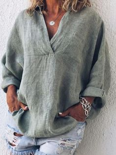 Women Vintage Blouse Plus Size Casual V Neck Long Sleeve Tops Blouse En Lin, Blouse Col V, V Neck Blouse, Plus Size Blouses, Plus Size Tops, Casual Tops For Women, Blouses For Women, Trendy Tops, Tops Boho