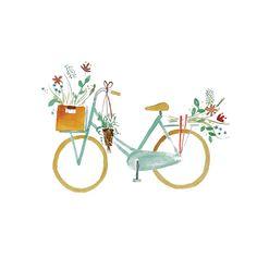 Life is a beautiful ride!   Mijksje | bike | card | romantic | macrame | plant | fiets | aquarel | mamafiets | flowers | illustration | illustratie | ontwerp | waterverf | watercolor