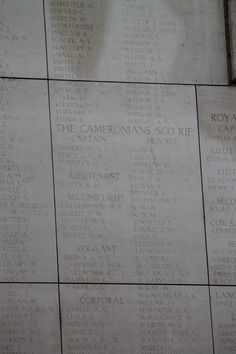 Names of missing Cameronians at the Menin Gate Memorial in Ypres.