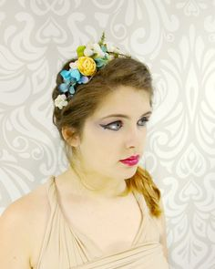 Flower Headband Flower Crown Blueberries and by RuthNoreDesigns