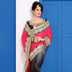 #Crepe #Partywear #Saree with Blouse