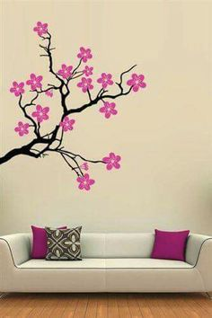 Tree Wall Decals are great for room decor and accenting. Simple Wall Paintings, Creative Wall Painting, Wall Painting Decor, Creative Walls, Diy Wand, Cherry Blossom Decor, Cherry Blossoms, Deco Zen, Wall Drawing