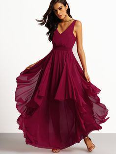 Fabric :Fabric has no stretch Season :Summer Pattern Type :Plain Sleeve Length :Sleeveless Color :Burgundy Dresses Length :Maxi Style :Party Material :Chiffon Neckline :V neck Silhouette :Pleated Shou