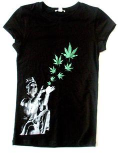 Buddha hemp leaves Tshirt- Hemp/Organic Cotton Womens Black  Psychedelic. $30.00, via Etsy.