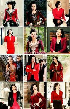 Awesome Regina Evil Queen Regina (Lana) Once she looks so good in red Regina Mills, Regina Ouat, Once Upon A Time Funny, Swan Queen, Red Queen, Queen Outfit, Evil Queens, Queen Costume, Jennifer Morrison
