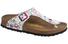 Papillio Gizeh  Tranquil Flowers White Birko-Flor  $79     This fashion-forward thong sandal sports creative new patterns and materials seasonally but always remains comfortable. The cork footbed provides great arch support for comfortable, all-day wear. The soles provide a cushioned and flexible stride and can be replaced when worn.