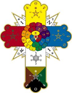 The Rosy Cross, originally a symbol of the Rosicrucian Order, adapted by the Hermetic Order of the Golden Dawn.