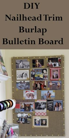DIY a Nailhead Trim Burlap Bulletin Board.  Makes a great vehicle to store your annual Christmas photos or other photos year-round.|diy crafts