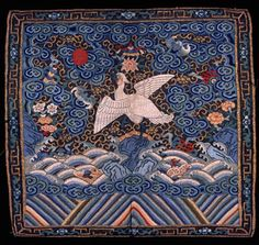 Frontside Court Insignia Badge (Buzi) for a Civil Official of 6th Rank (Egret), Qing dynasty (1644-1911), circa 1875-1900.  Silk weaving, Chinese, 11-1/2 x 12-1/2 inches.