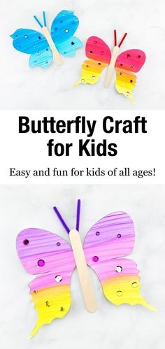 This fluttering paper butterfly craft includes a printable template, making it the perfect easy craft for home, school, or special butterfly programs. Arts And Crafts For Kids Toddlers, Creative Activities For Kids, Easy Arts And Crafts, Spring Crafts For Kids, Crafts For Kids To Make, Summer Crafts, Crafts For Teens, Kids Crafts, Paper Butterfly Crafts