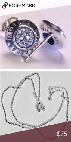 "PANDORA SIGNATURE SET EARRING STUDS ABD SMALLER PENDANT CHARM ON  PANDORA 19.7"" CHAIN Pandora Jewelry Earrings"