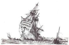 """Le 22 décembre 1794, le vaisseau de 110 canons le """"Républicain"""" s'échoue sur la roche Mingan dans le goulet de la rade de Brest. Gravure de Pierre Ozanne prise à basse-mer."""