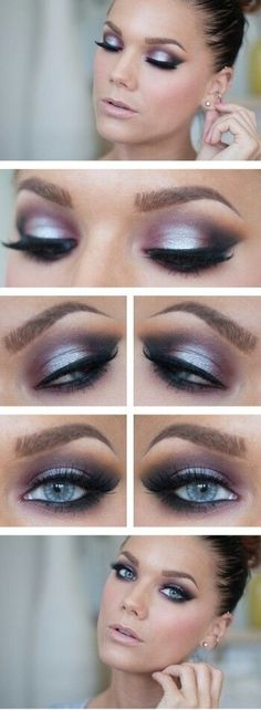 DRAMATIC PURPLE..This shimmery eye makeup look is to die for! Love the colors with her blue eyes!
