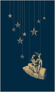 The stars would be yellow and then the strings black and I'm not sure about the man and woman though. This would be an awesome tattoo though.